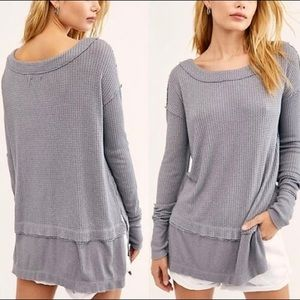 Free People North Shore Storm grey thermal top